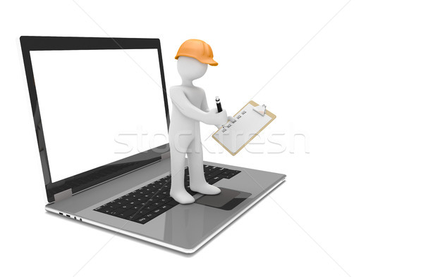 Notebook Manikin Hardhat Clipboard Checklist  Stock photo © limbi007