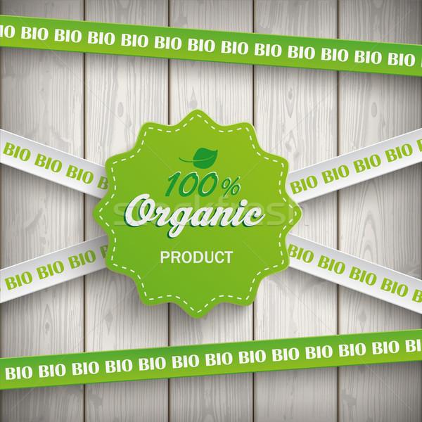 Biyo etiket hatları 100 organik ahşap Stok fotoğraf © limbi007