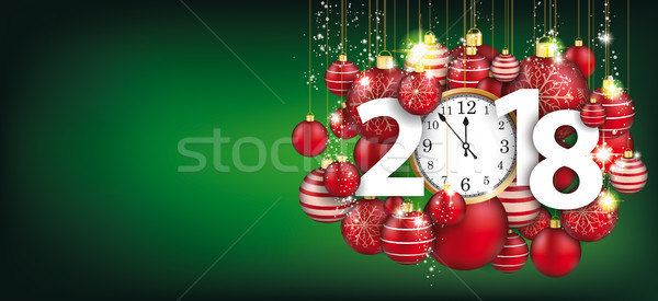 Hanging Red Baubles Christmas Clock 2018 Green Header Stock photo © limbi007