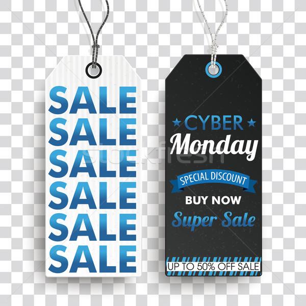Two Long Price Stickers Cyber Monday Super SaleTransparent Stock photo © limbi007