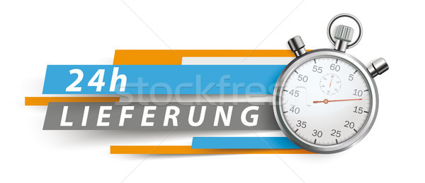 24h Lieferung Stopwatch Blue Orange Paper Lines White Header Stock photo © limbi007