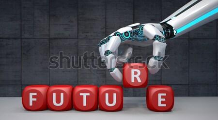 Robot strony napomknąć biały konkretnych 3d ilustracji Zdjęcia stock © limbi007