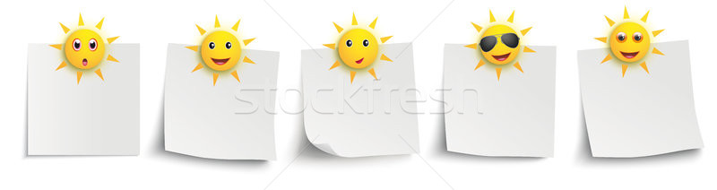 Stockfoto: Witte · grappig · zon · smileys · stickers