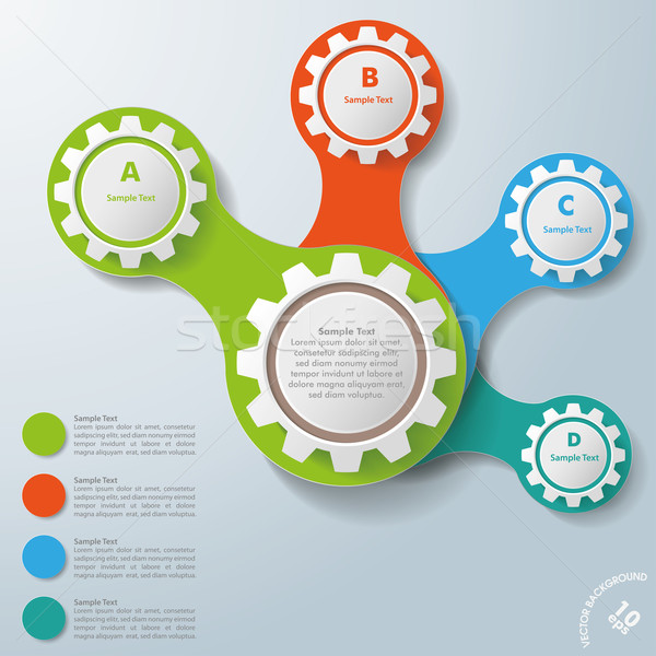Infographic White Connected Gears ABCD Stock photo © limbi007