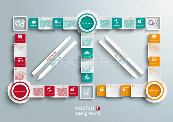 Double Big Colored Arrows Banners Batched Rectangles Stock photo © limbi007