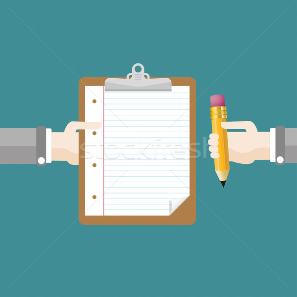 Hands Clipboard Pencil Flat Design Stock photo © limbi007