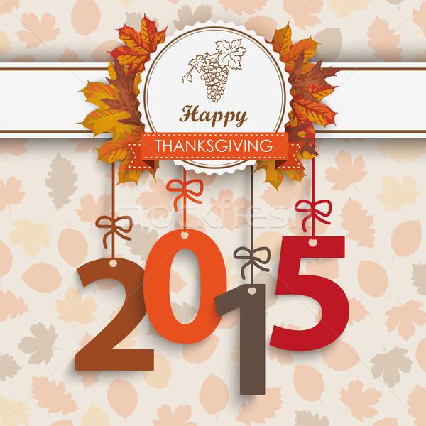 2015 lomb hálaadás embléma szám ősz Stock fotó © limbi007