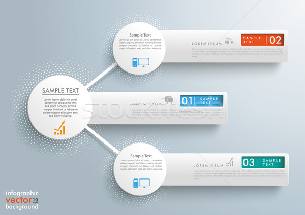 Infographic 3 Network Circles Halftone Banners Stock photo © limbi007