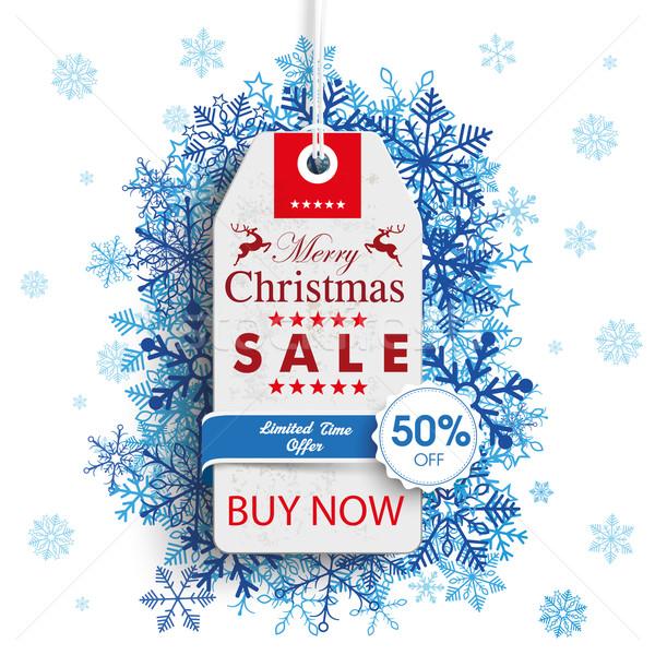 Christmas 50off Price Sticker Emblem Snowflakes Stock photo © limbi007