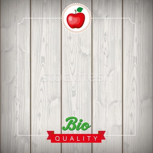 Stock fotó: Embléma · szalag · fa · alma · bio · minőség