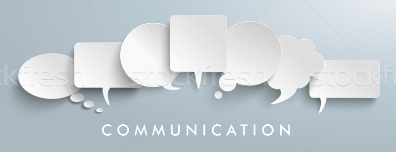 White Paper Speech Balloons Communication Header Stock photo © limbi007