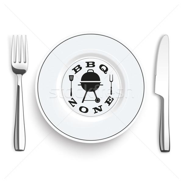Knife Fork Stainless Steel Flatware BBQ Zone Stock photo © limbi007