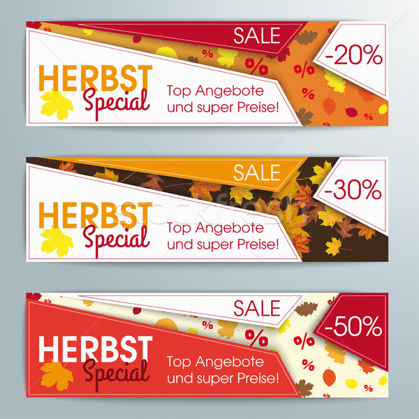 Abstract 3 Banners Template Herbst Special Stock photo © limbi007