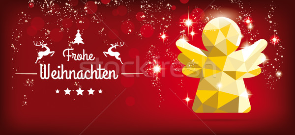 Low Poly Christmas Angel Red Headline Frohe Weihnachten Stock photo © limbi007