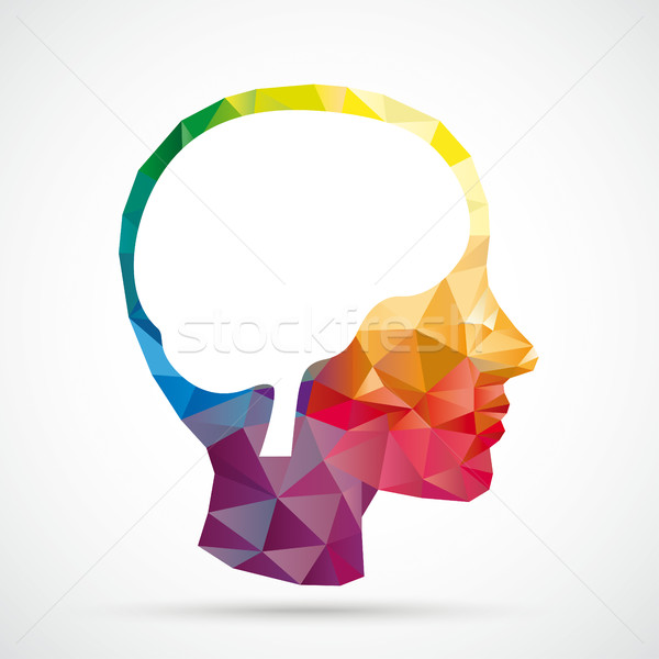 Colored Low Poly Human Head Brain Stock photo © limbi007