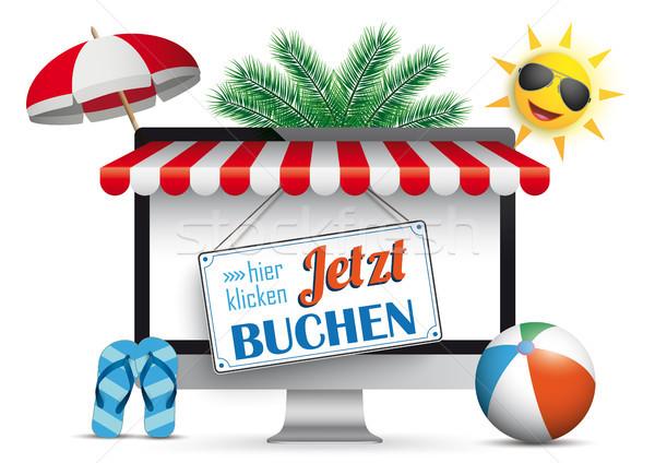 PC Monitor Marquee Palms Sun Flip-Flops Jetzt Buchen Stock photo © limbi007