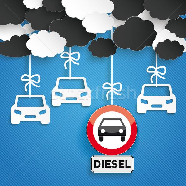 Papieru chmury pasiasty Błękitne niebo samochody nie Zdjęcia stock © limbi007