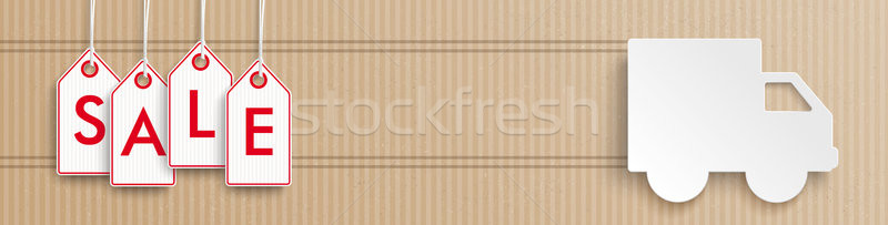 Delivery Van Cardboard Header Sale Price Stickers Stock photo © limbi007