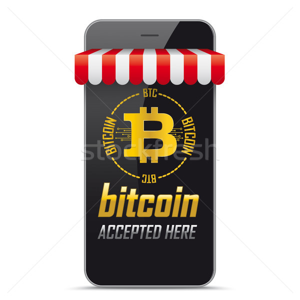 Tienda bitcoin aquí negro Foto stock © limbi007
