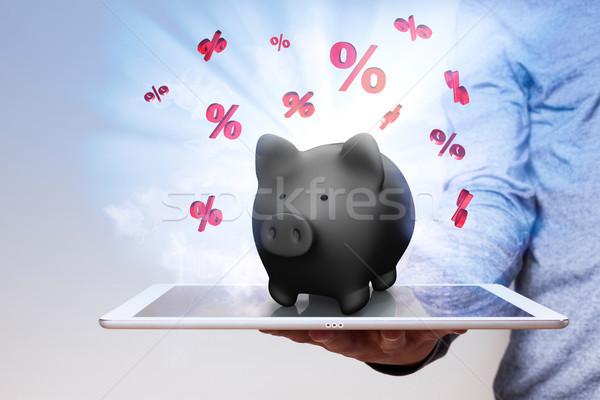 Hand Tablet Piggy Bank Red Percents Stock photo © limbi007