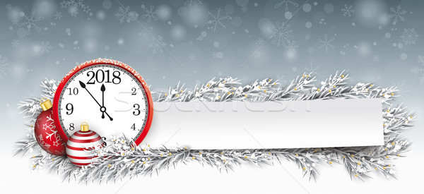 Stock photo: Paper Banner Bauble Frozen Twigs Christmas Clock 2018