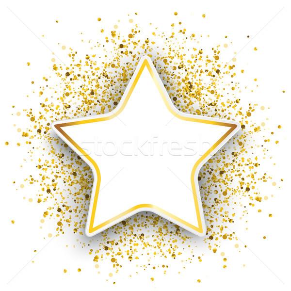 Star złoty cząstki konfetti biały eps Zdjęcia stock © limbi007
