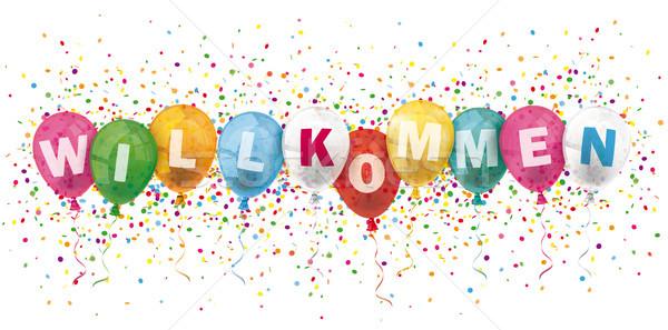 Willkommen Header Colored Balloons Confetti Explosion Stock photo © limbi007
