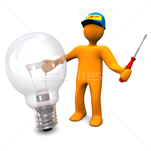 Electrician With Bulb Stock photo © limbi007