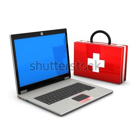 Stok fotoğraf: Ilk · yardım · durum · beyaz · iş · bilgisayar