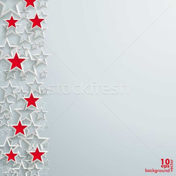 Rood witte sterren christmas ontwerp grijs Stockfoto © limbi007