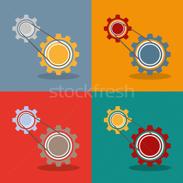 2 Gears Engine Flat Design Stock photo © limbi007