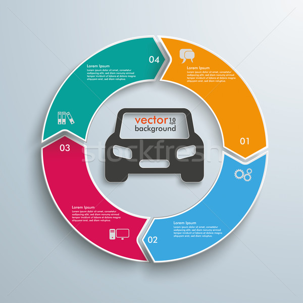 Colored Ring Cycle 4 Options Car Infographic Stock photo © limbi007