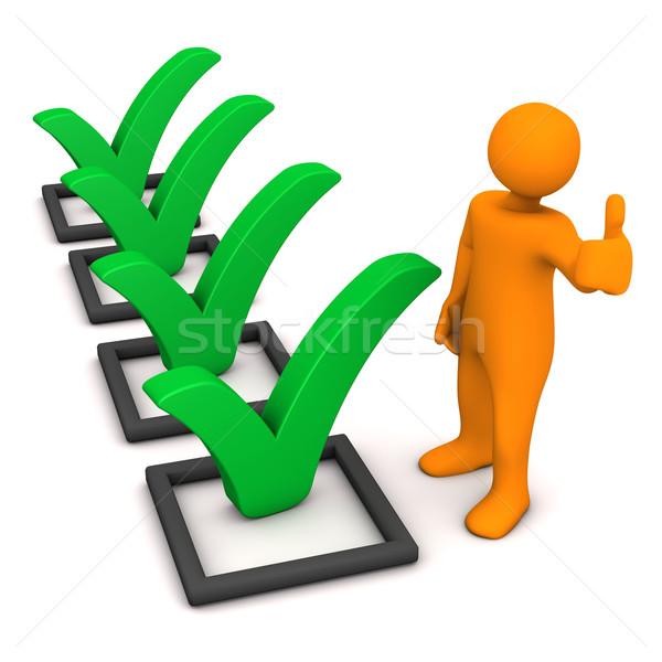 Manikin Green Ticks Checklist Stock photo © limbi007