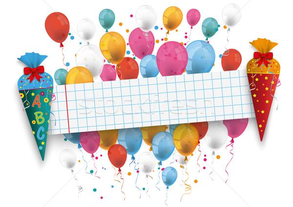 2 Candy Coles School Paper Banner Balloons Stock photo © limbi007