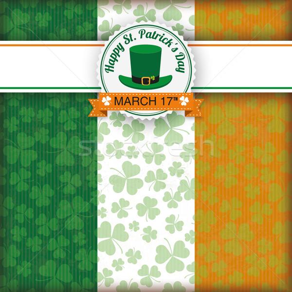 Irish Flag Vintage Cover Striped Banner Emblem Stock photo © limbi007