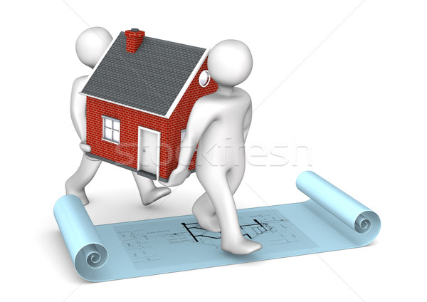 Manikins House Construction Plan Stock photo © limbi007