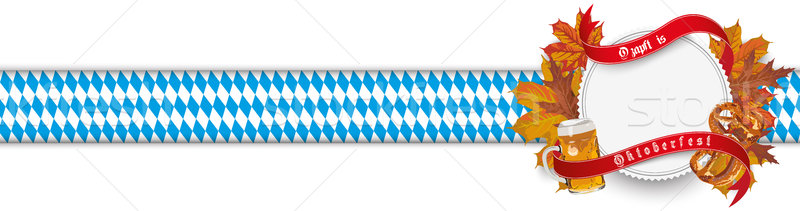 Oktoberfest Emblem Ribbon Foliage Bavarian Header Stock photo © limbi007