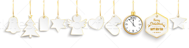 Christmas Golden Price Stickers Ribbons Clock 2017 Stock photo © limbi007