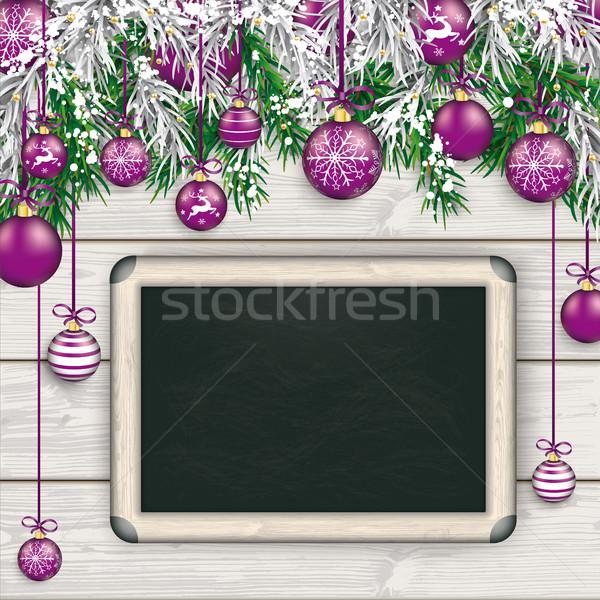 Stock photo: Christmas  Frozen Green Fir Twigs Wood Blackboard