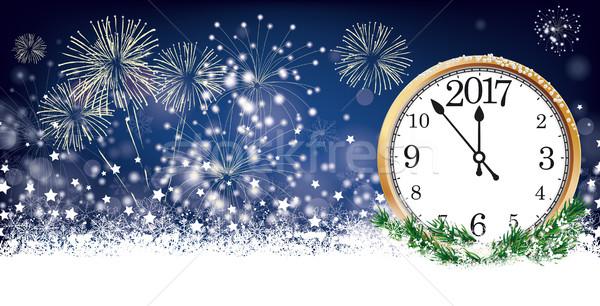 Card ceas antet fulgi de zapada stele focuri de artificii Imagine de stoc © limbi007