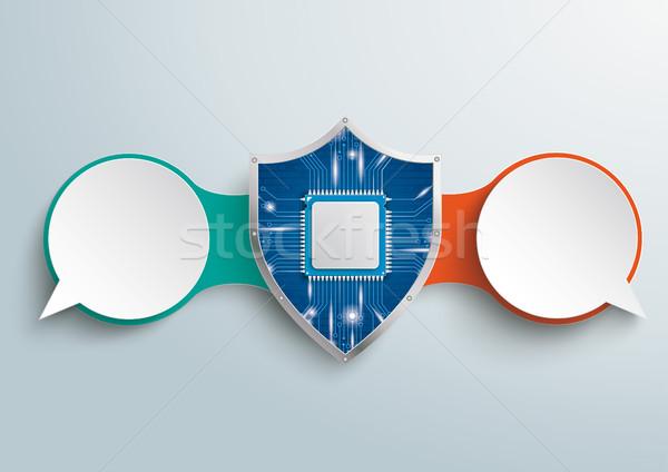 Kódolt szövegbuborékok lánc digitális védelem pajzs Stock fotó © limbi007