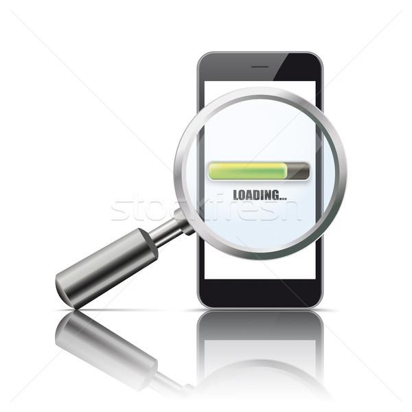 Black Smartphone Loupe Mirror Loading Stock photo © limbi007