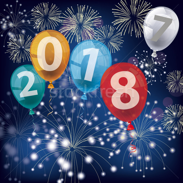 4 Colored Balloons 2018 2017 Fireworks Stock photo © limbi007