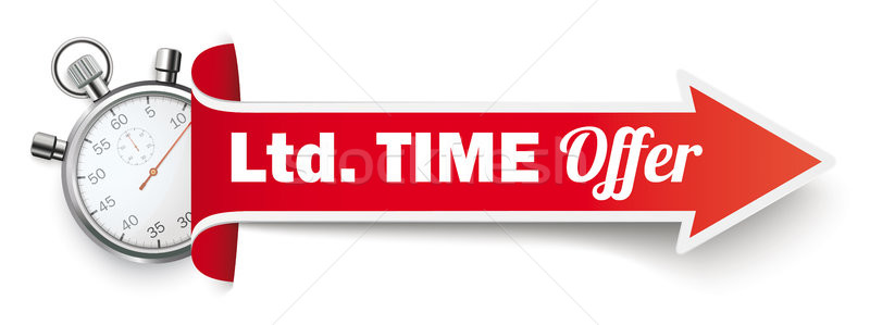 Long Red Covert Arrow Stopwatch Ltd Time Offer Stock photo © limbi007