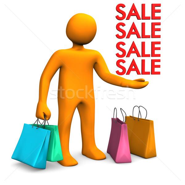 Manikin Shopping Bags Sale Stock photo © limbi007