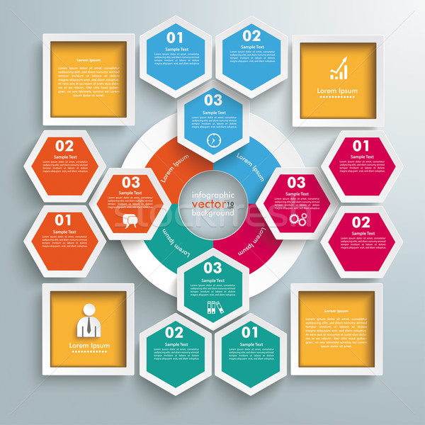 Big Circle Colored Infographic Honeycomb 4 Squares Stock photo © limbi007