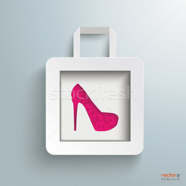 White Paper Shopping Bag High Heels Stock photo © limbi007