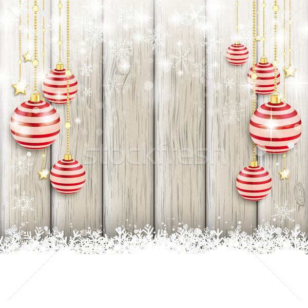 Snowfall Red Baubles Ash Wooden Background Stock photo © limbi007