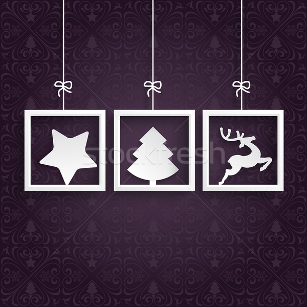 Stock photo: Purple Ornaments 3 Frames