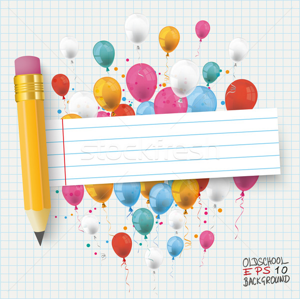 Checked Paper Balloons Striped Banner Pencil Stock photo © limbi007